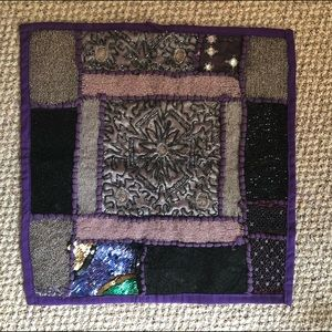 Heavily beaded Indian patchwork pillowcase purple